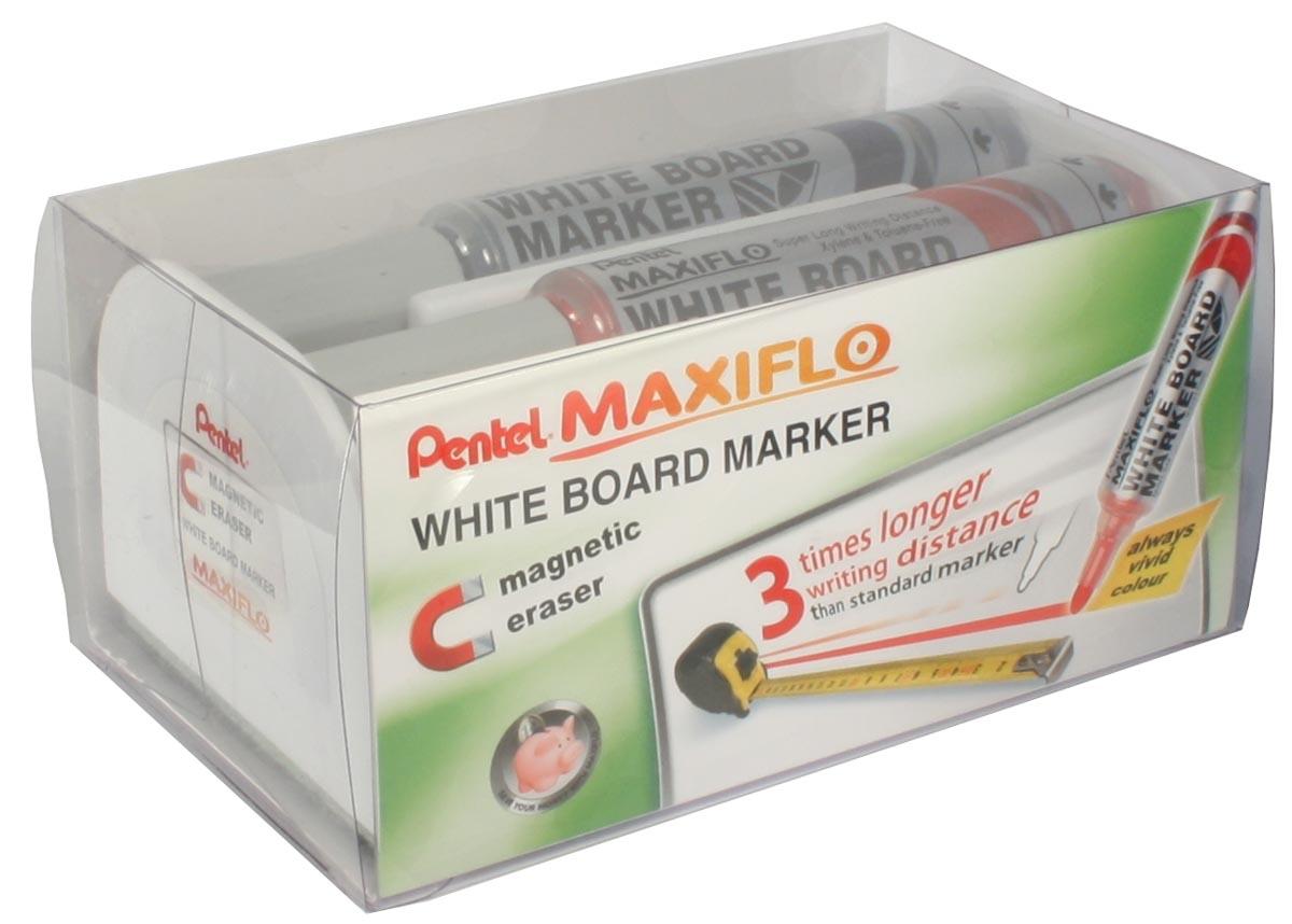 Pentel whiteboardmarker Maxiflo set van 4 stuks: blauw, rood, groen en zwart + magnetische bordwisse