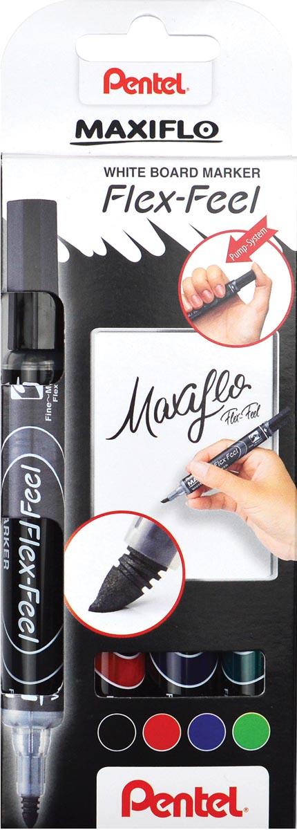 Pentel whiteboardmarker Maxiflo Flex-Feel, etui met 4 stuks, geassorteerde kleuren