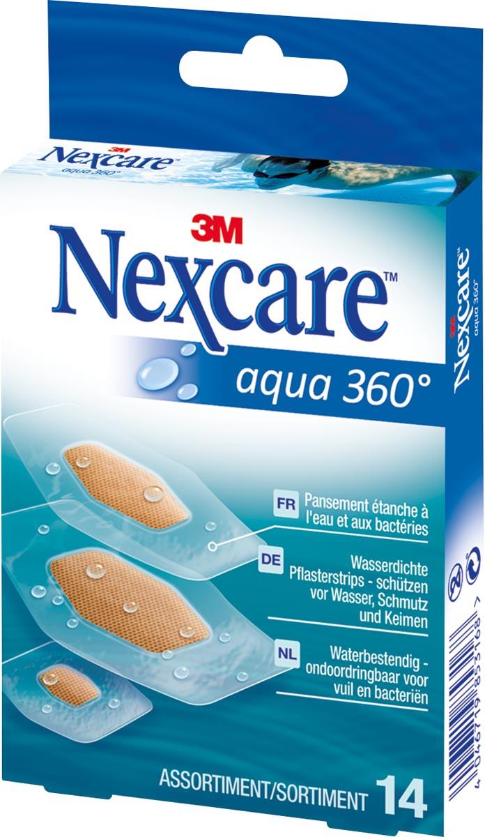 3M pleister Nexcare Aqua 360° 3 formaten, pak van 14 stuks