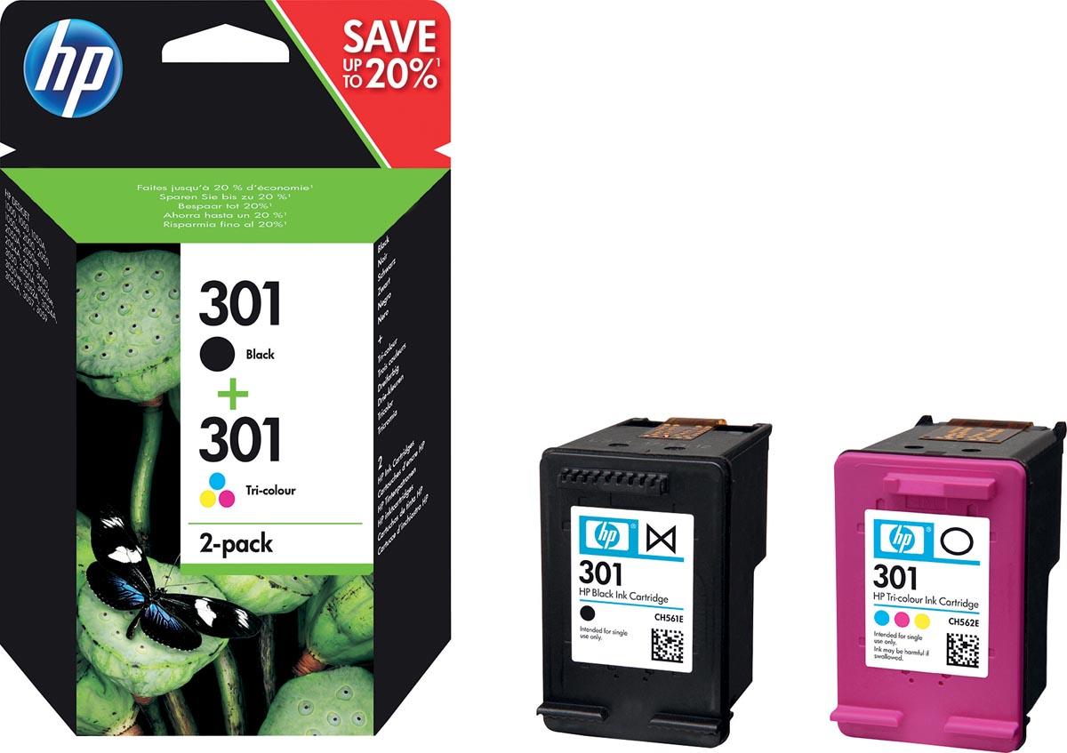HP 301 Inkt Cartridge Combo 2-Pack Standaardcapaciteit (Zwart en kleuren cartridge)