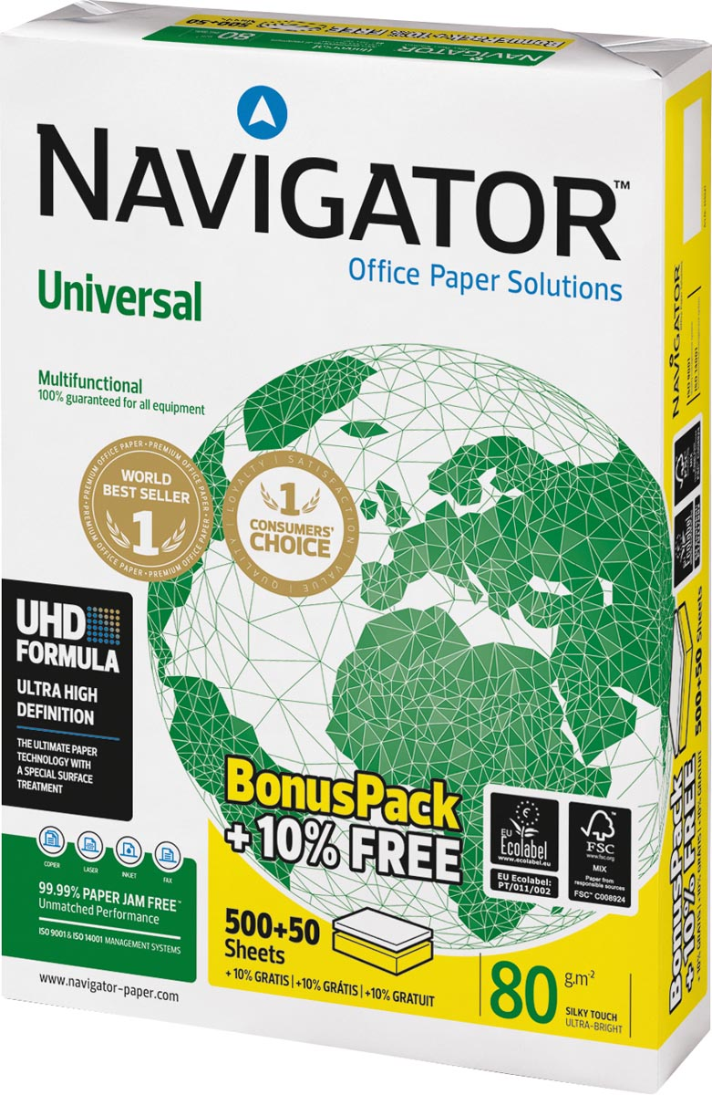 Navigator Universal printpapier ft A4, 80 g, bonus pak van 550 vel