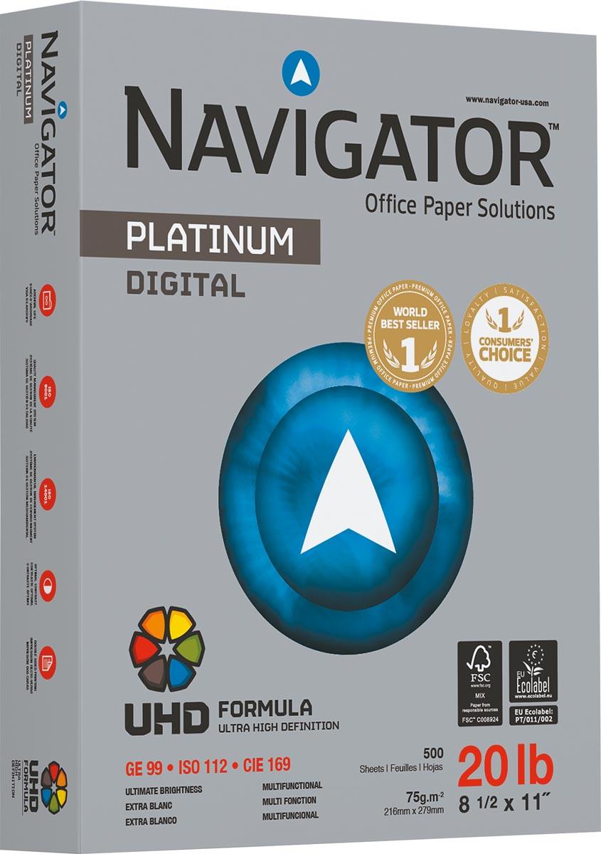 Navigator Platinum printpapier ft Letter (21,6 x 27,9 cm), 75 g, pak van 500 vel