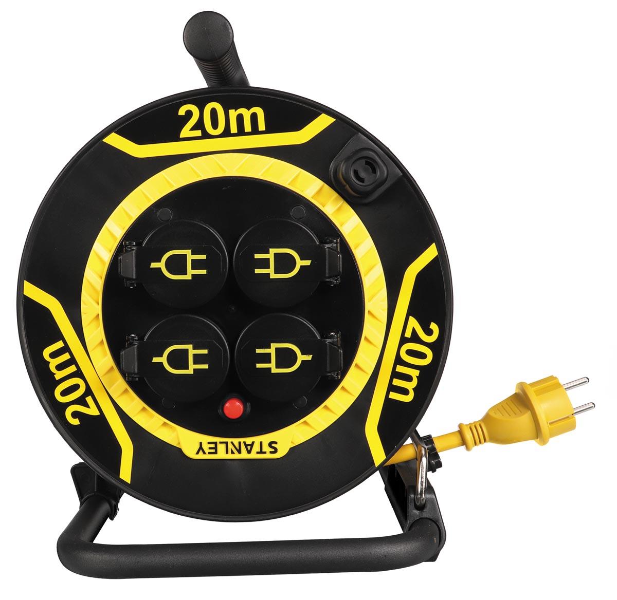 Stanley neopreen kabelhaspel 3G1,5, 20 meter, met 4 stopcontacten