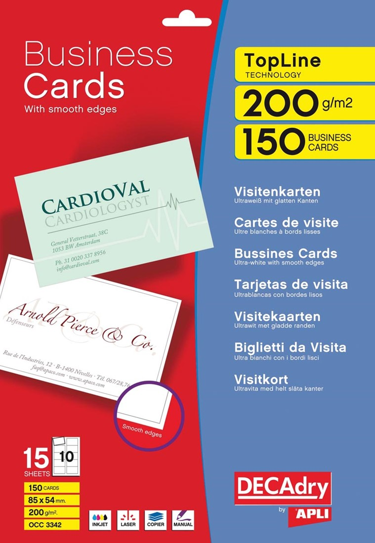 Decadry Cartes De Visite TopLine 150 10 Ft 85 X 54 Mm