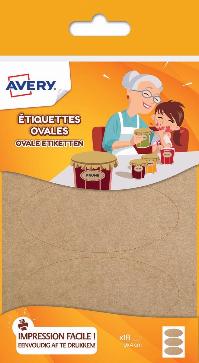 Avery Family ovale etiketten, ft 4 x 9 cm, kraft, ophangbare etui met 18 etiketten