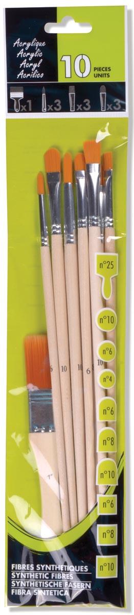 Acrylverfpenseel, set van 10 penselen
