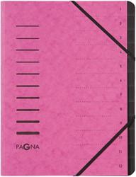 Pagna sorteermap voor ft A4, 12 vakken, roze