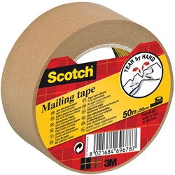 Scotch verpakkingsplakband, ft 50 mm x 50 m, papier, bruin