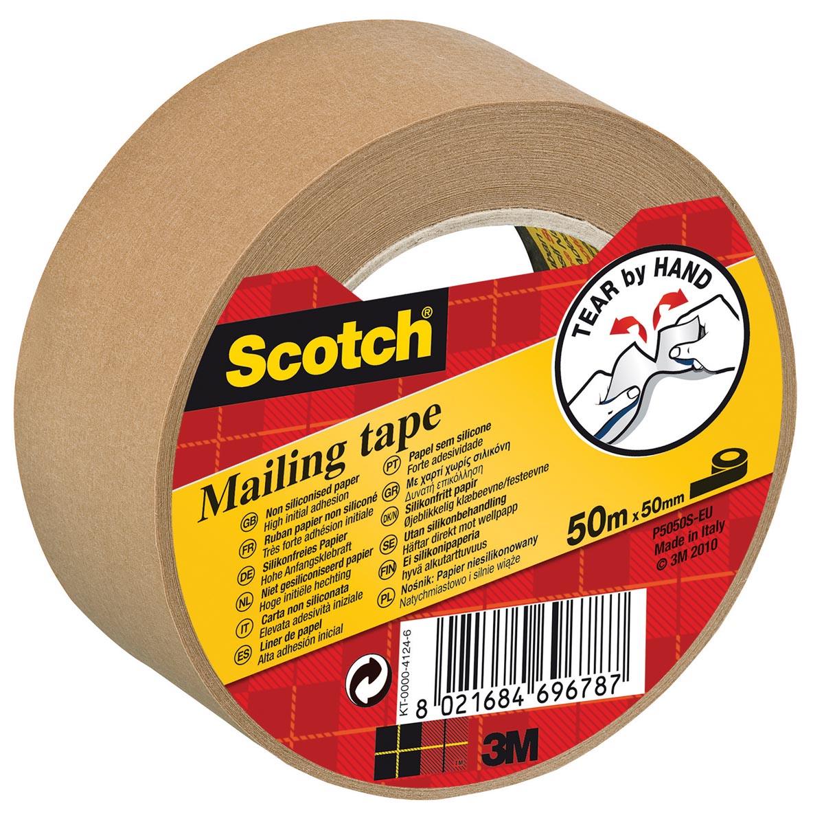 Scotch verpakkingsplakband, ft 50 mm x 50 m, papier, bruin