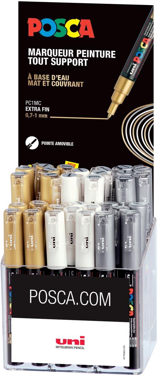 Posca paintmarker PC-1MC, display van 36 stuks in geassorteerde kleuren (goud, zilver, wit)