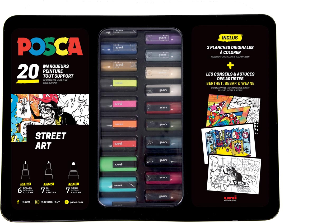 Posca paintmarkers, metalen doos van 20 stuks, in geassorteerde kleuren, ontwerp Street art