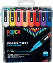 Posca paintmarker PC-3M, etui met 16 stuks in geassorteerde kleuren