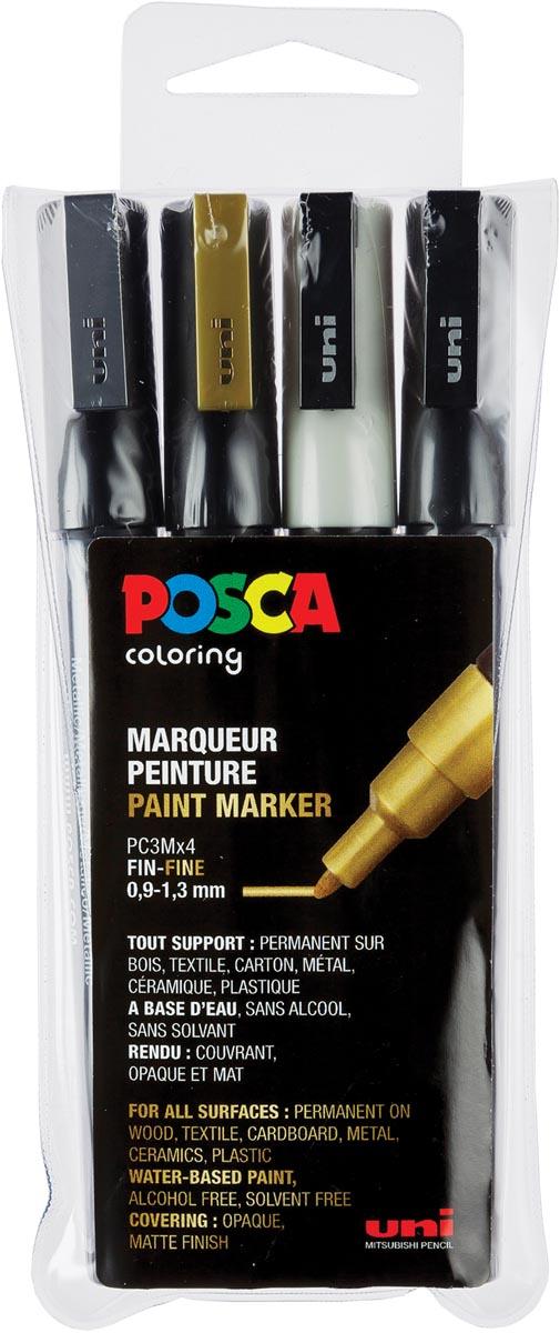Posca paintmarker PC-3M, set van 4 markers in geassorteerde kleuren