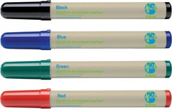 Bi-Office Earth-It whiteboardmarkers, set van 4 stuks in geassorteerde kleuren