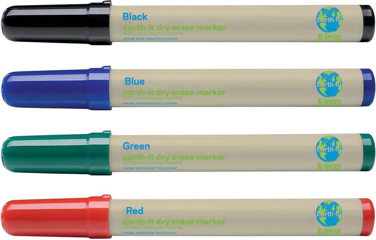 Afbeelding van Bi-Office Earth-It whiteboardmarkers, set van 4 stuks in geassorteerde kleuren