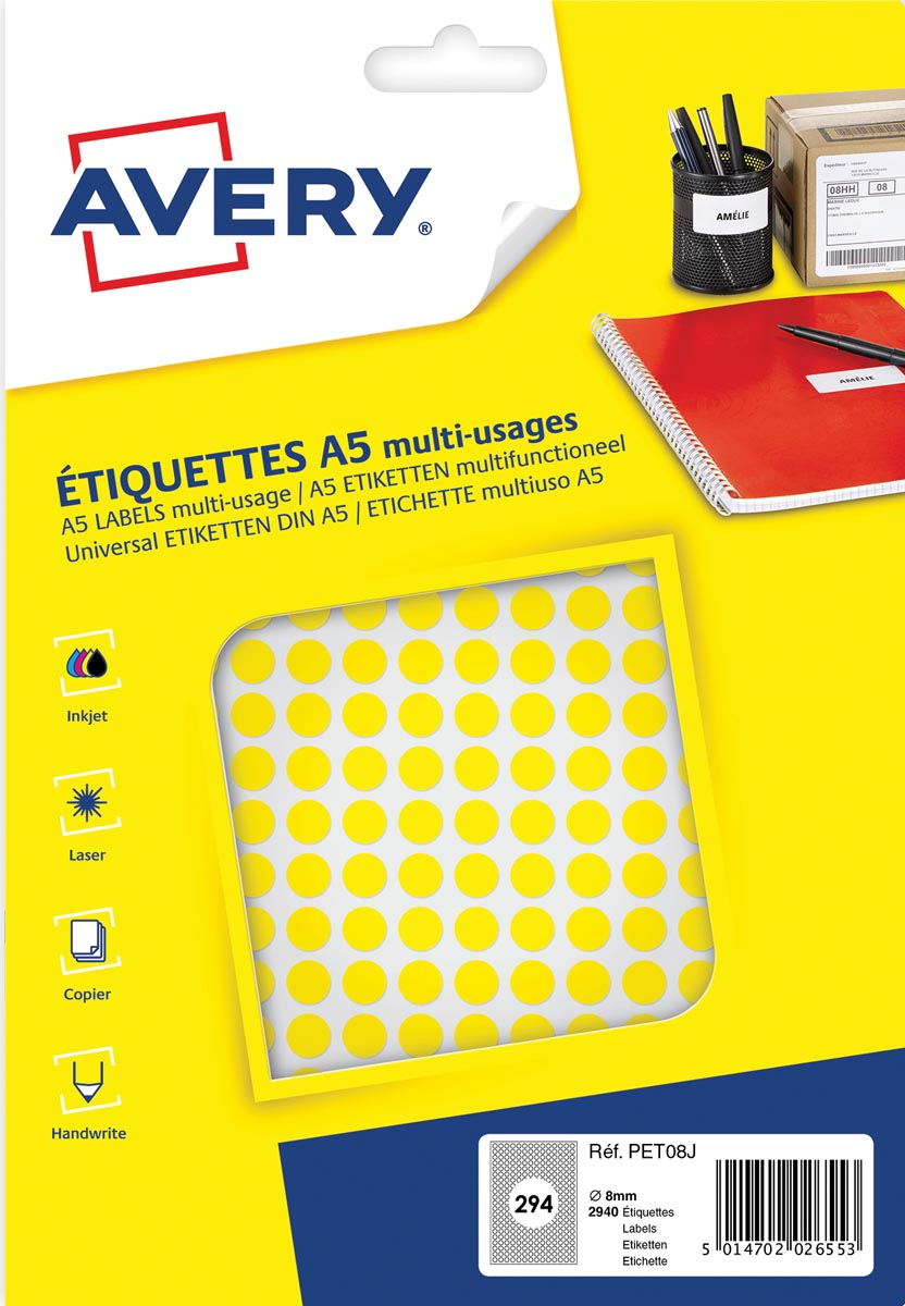 Avery PET08J ronde markeringsetiketten, diameter 8 mm, blister van 2940 stuks, geel