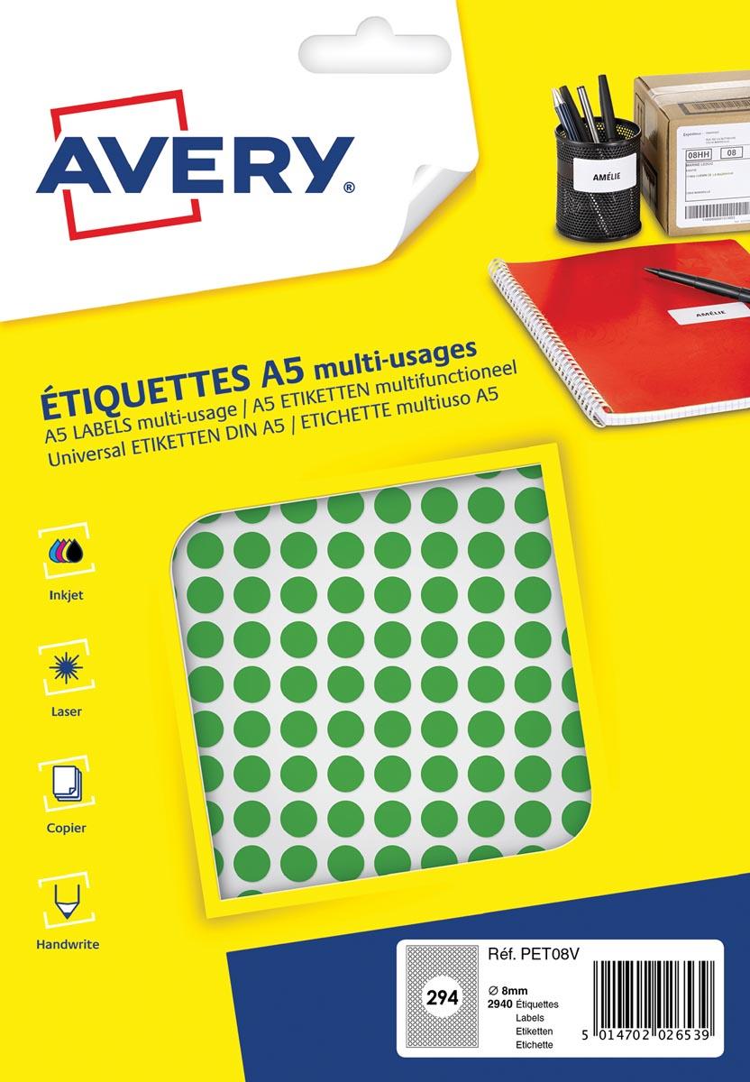 Avery PET08V ronde markeringsetiketten, diameter 8 mm, blister van 2940 stuks, groen
