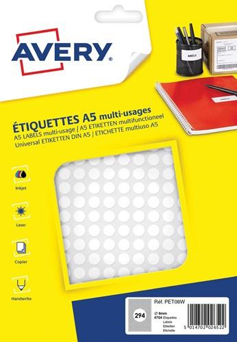 Avery PET08W ronde markeringsetiketten, diameter 8 mm, blister van 4704 stuks, wit