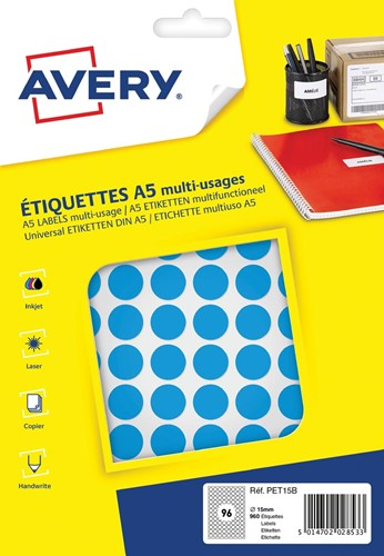 Avery PET15B ronde markeringsetiketten, diameter 15 mm, blister van 960 stuks, blauw