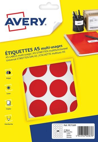 Avery PET30R ronde markeringsetiketten, diameter 30 mm, blister van 240 stuks, rood