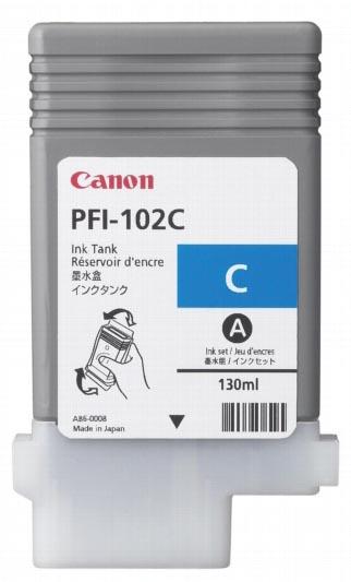 Canon inktcartridge PFI-102C, 130 ml, OEM 0896B001, cyaan