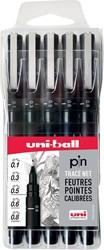 Uni-ball kalligrafiepen zwart, etui met 5 stuks in geassorteerde punten (assortiment 2)