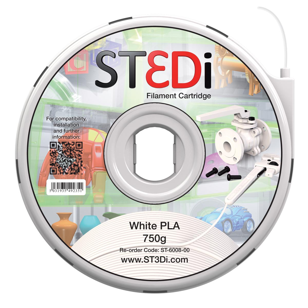 St3di cartridge pla 750g wit voor st3di printer