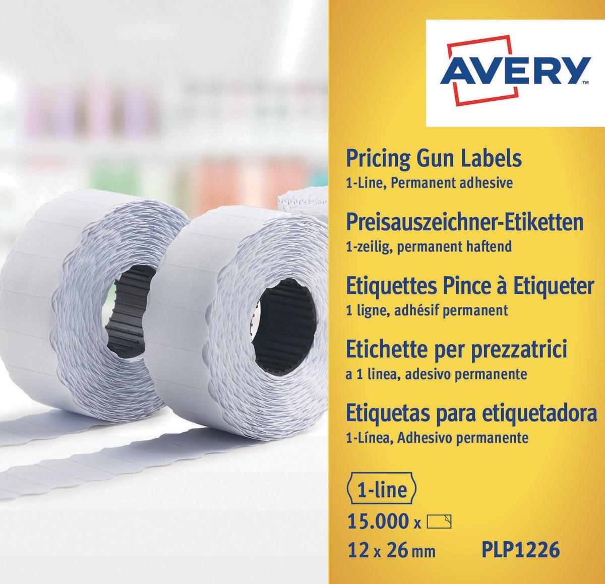 Avery PLP1226 etiketten voor prijstang permanent, ft 12 x 26 mm, 15 000 etiketten, wit
