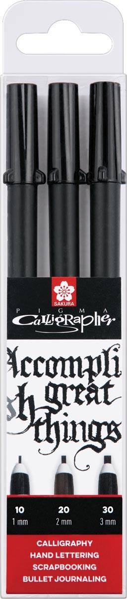 Sakura kalligrafiepen Pigma Calligrapher, zwart, etui van 3 stuks