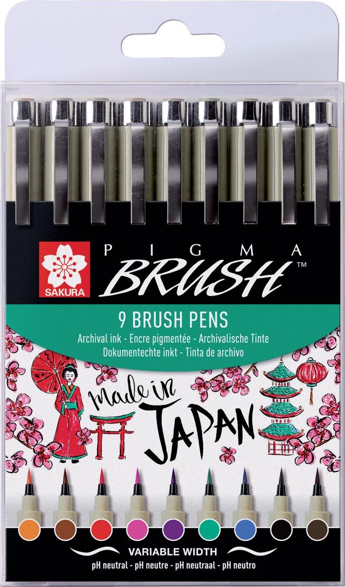 Sakura brushpen Pigma Brush, etui van 9 stuks, in geassorteerde kleuren