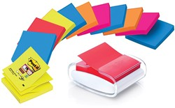 Post-it Z-Notes dispenser kei inclusief 12 x Super Sticky Z-notes Neon ft 76 x 76 mm