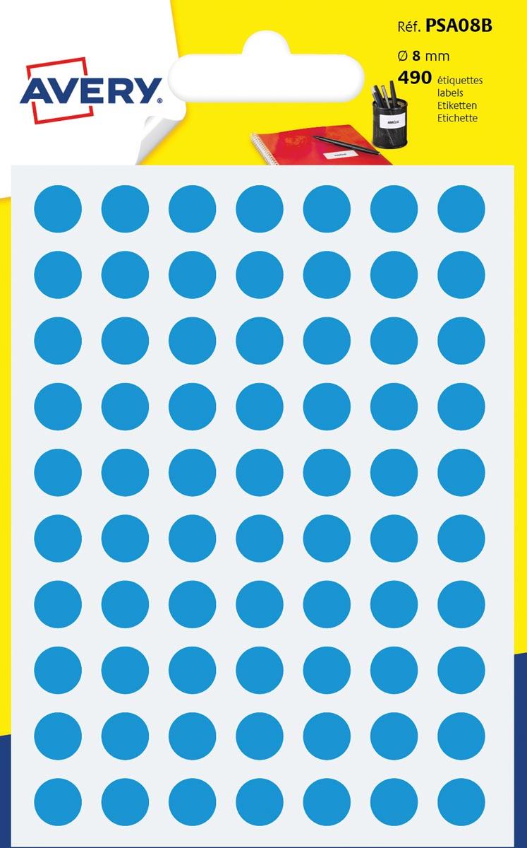Avery PSA08B ronde markeringsetiketten, diameter 8 mm, blister van 490 stuks, lichtblauw
