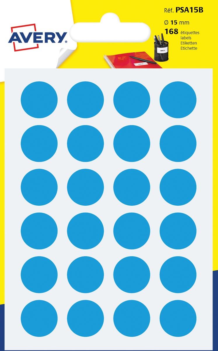 Avery PSA15B ronde markeringsetiketten, diameter 15 mm, blister van 168 stuks, lichtblauw