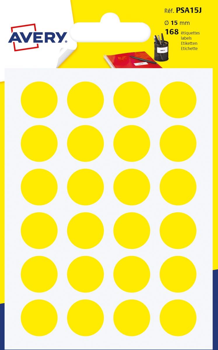 Avery PSA15J ronde markeringsetiketten, geel, 7 vel, 168 per vel