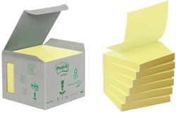 Post-it Z-Notes gerecycleerd, ft 76 x 76 mm, geel, doos van 6 blokken