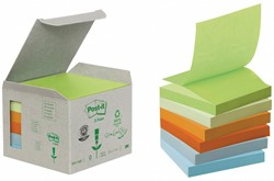 Post-it Z-Notes gerecycleerd, ft 76 x 76 mm, geassorteerde kleuren, doos van 6 blokken