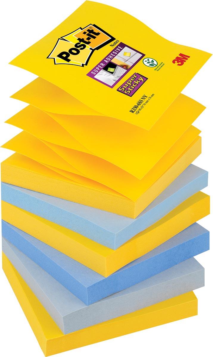 Post-it Super Sticky Z-Notes New York, ft 76 x 76 mm, geassorteerde kleuren, 90 vel, pak van 6 blokk