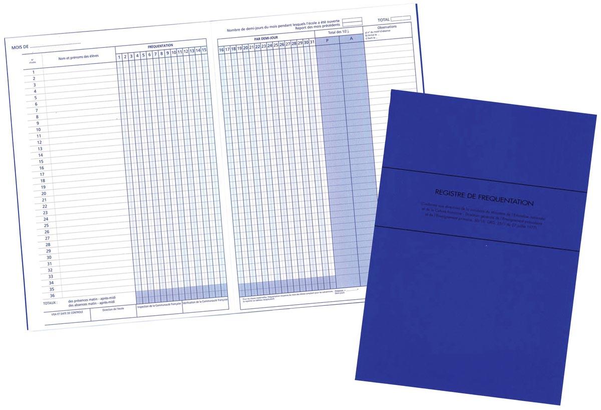 Mano aanwezigheidslijst Franstalig, ft 21 x 29,7 cm, 80 g/m�, 32 bladzijden