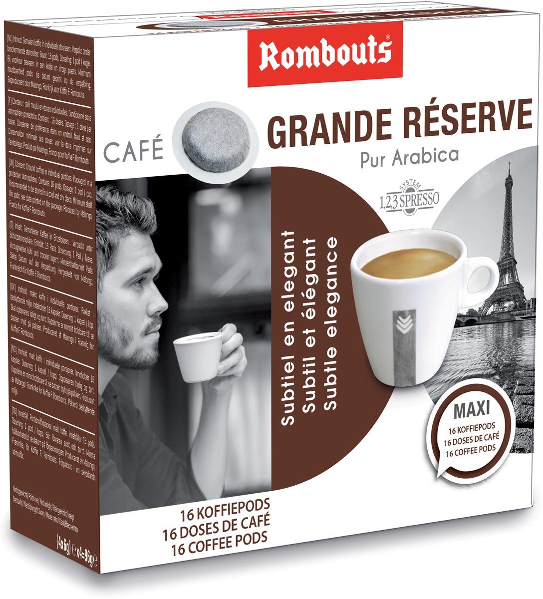 Rombouts koffiepads voor espresso, Grande Réserve, pak van 16 stuks