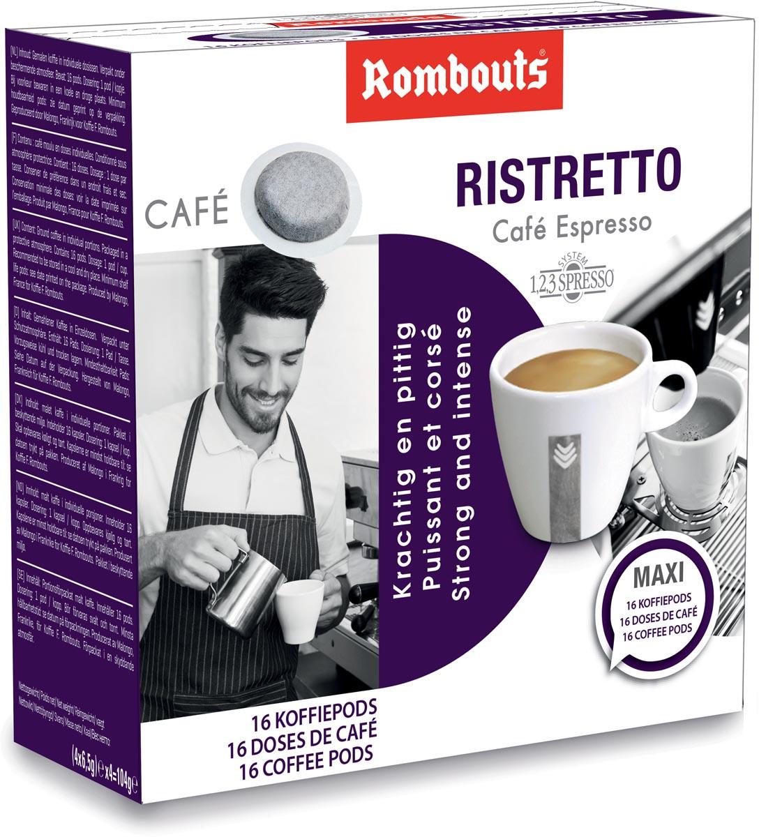 Rombouts koffiepads voor espresso, Ristretto, pak van 16 stuks