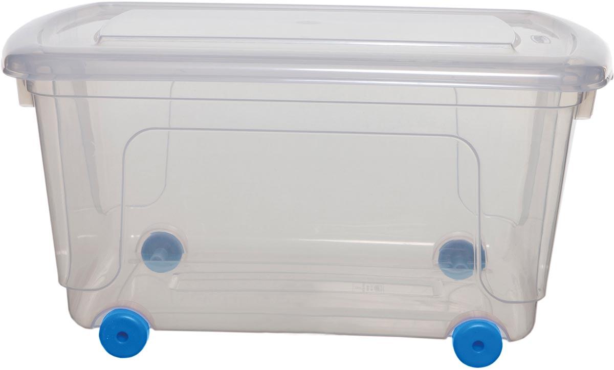 Whitefurze opbergdoos 45 liter, transparant met blauwe wieltjes