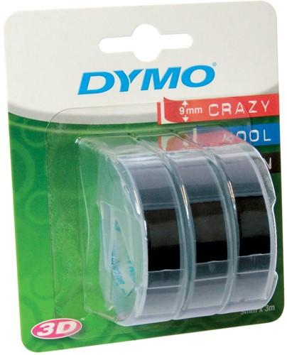 Dymo D3 tape 9 mm, wit op zwart, blister van 3 stuks
