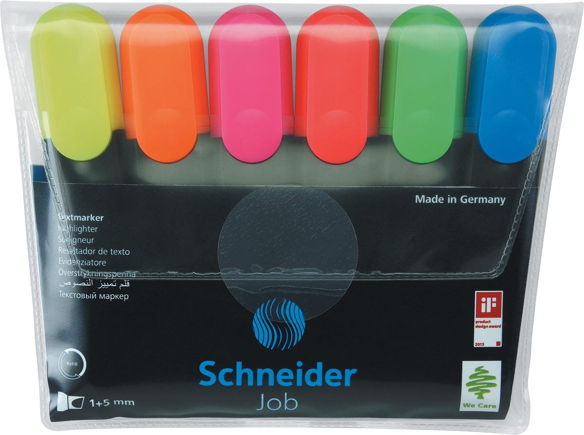 Schneider markeerstift Job 150, etui van 6 stuks in geassorteerde kleuren