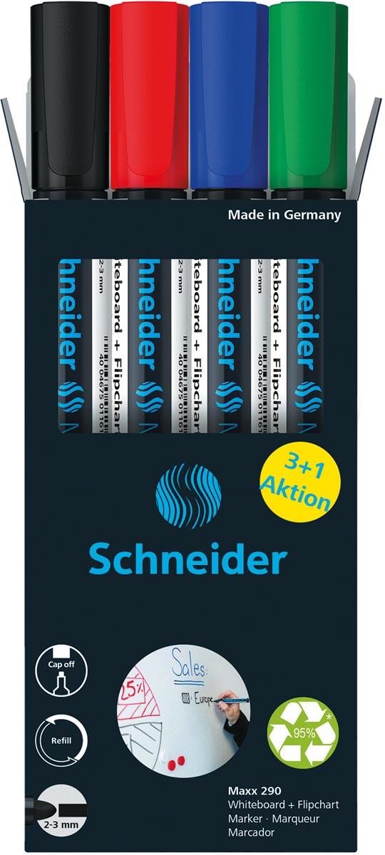 Schneider Maxx 290 whiteboardmarker, 3 + 1 gratis, assorti