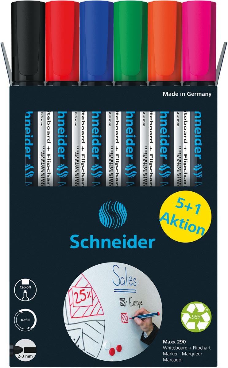Schneider Maxx 290 whiteboardmarker, 5 + 1 gratis, assorti