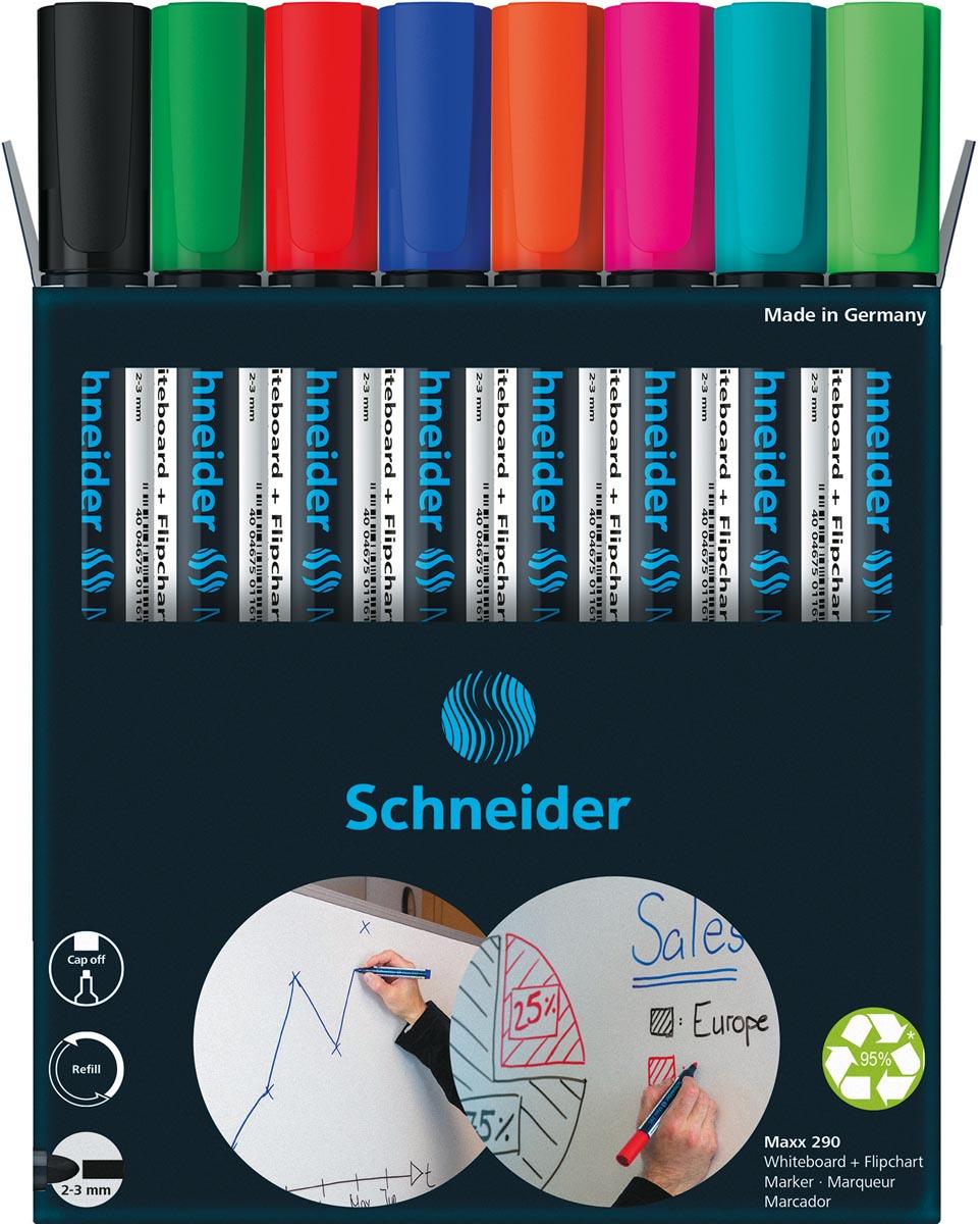 Schneider Maxx 290 whiteboardmarker, 6 + 2 gratis, assorti
