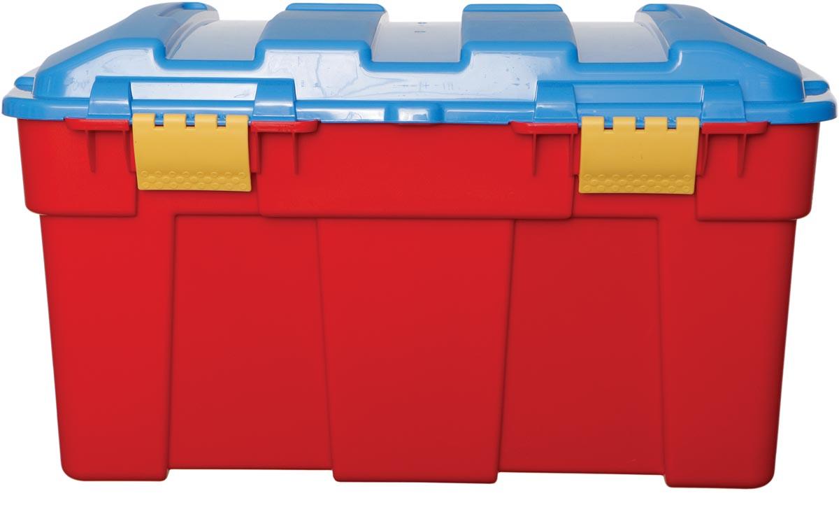 Whitefurze opbergdoos 40 liter, rood met blauwe deksel