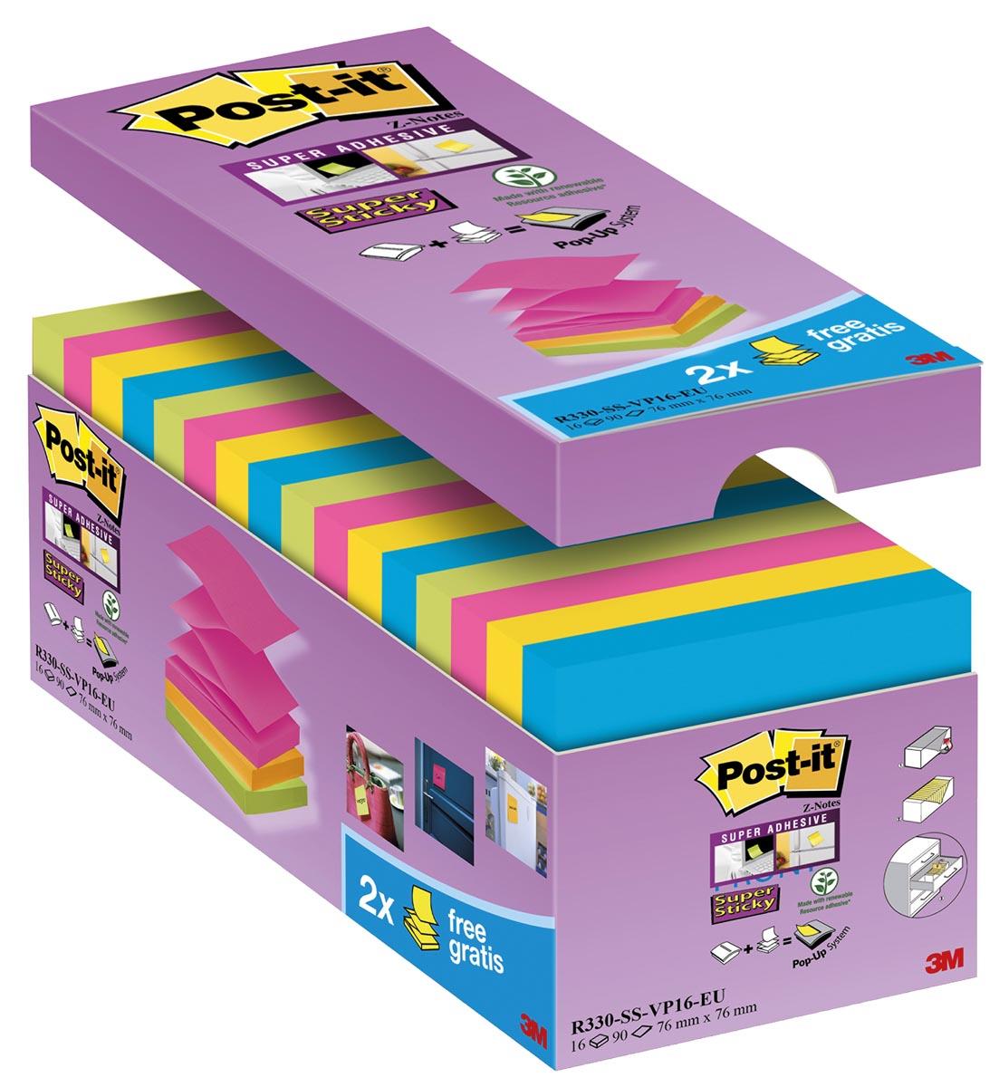 Post-it Super Sticky Z-Notes, ft 76 x 76 mm, geassorteerde kleuren, 90 vel, pak van 12 + 4 gratis