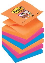 Post-it Super Sticky Z-Notes Bangkok, ft 76 x 76 mm, geassorteerde kleuren, 90 vel, pak van 6 blokken