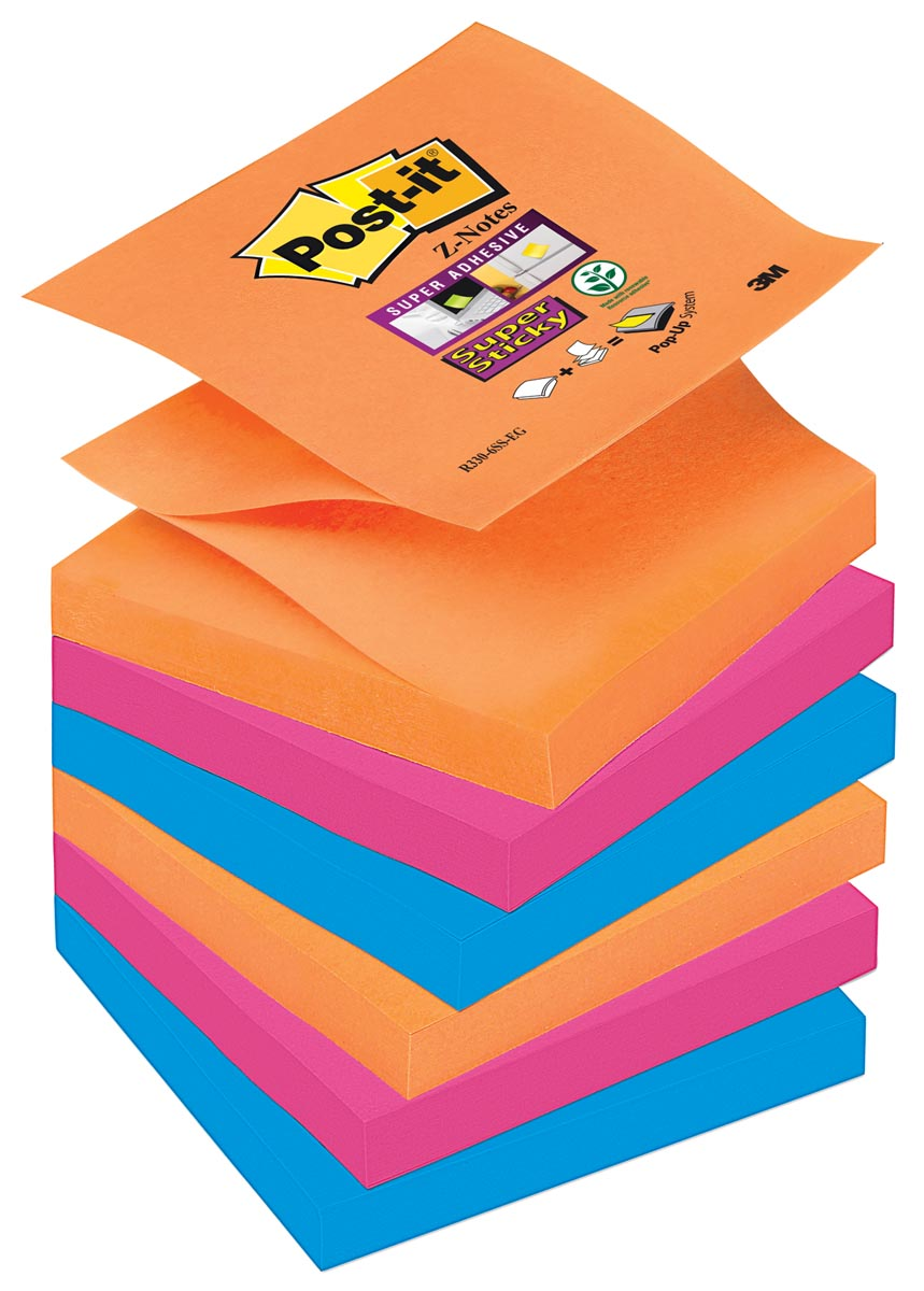 Post-it Super Sticky Z-Notes Bangkok, ft 76 x 76 mm, geassorteerde kleuren, 90 vel, pak van 6 blokke